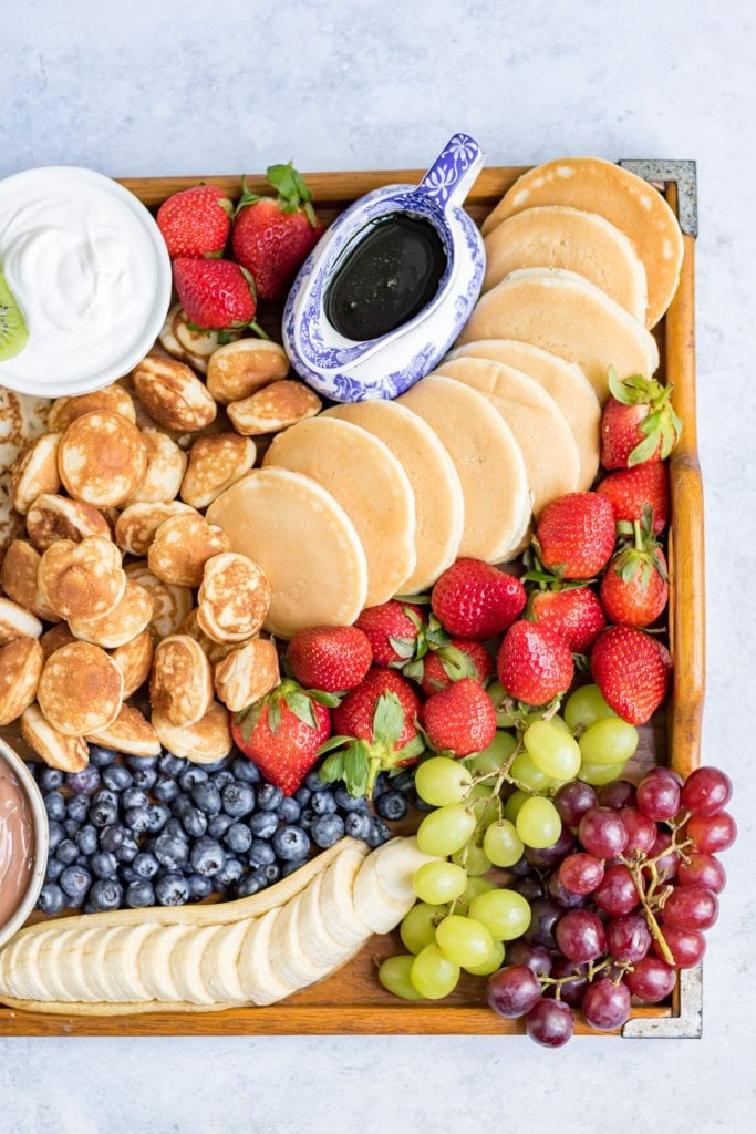 Close up of a side of a pancake platter.