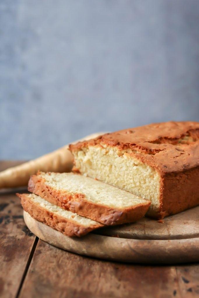 Cut slices of loaf cake.
