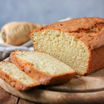 Close up of cut loaf cake.