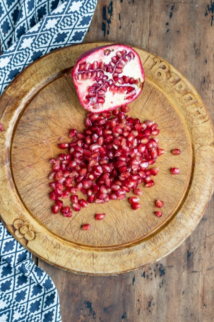 Pile of pomegranate seeds.