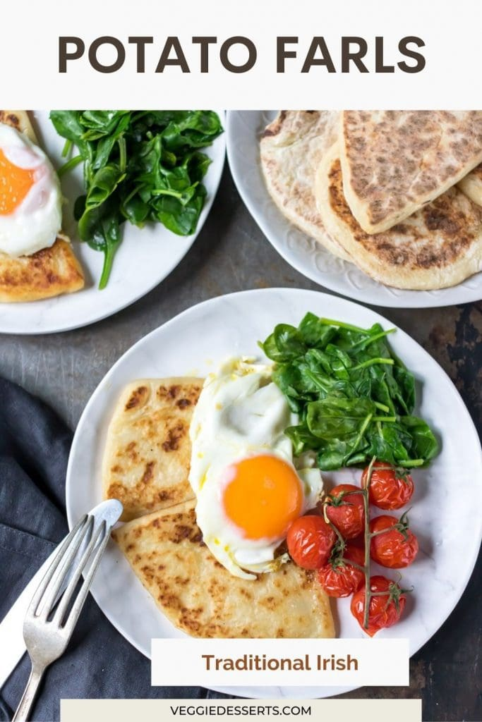 Plates of breakfast with text: Potato Farls.