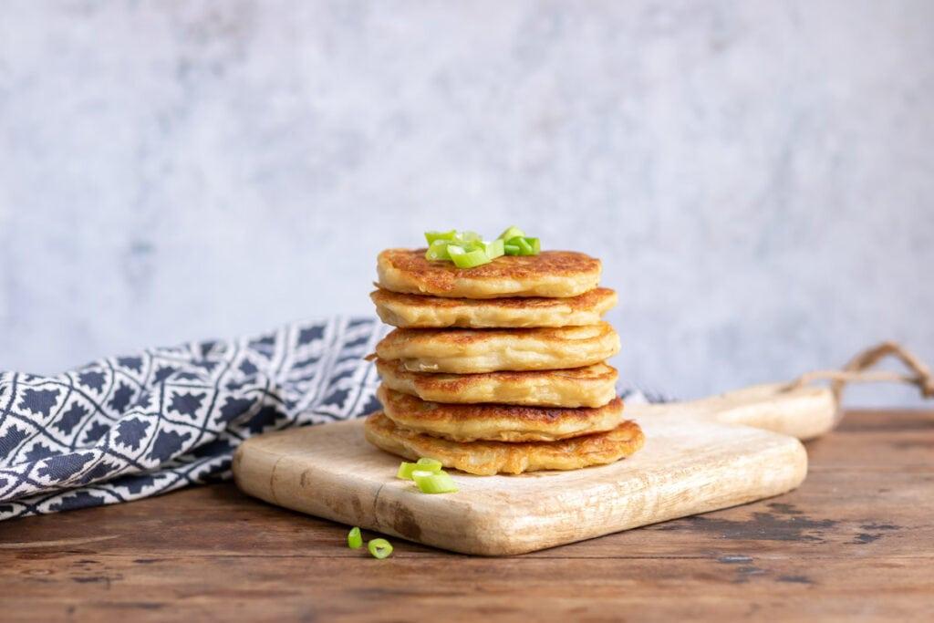 Pile of Irish potato pancakes.