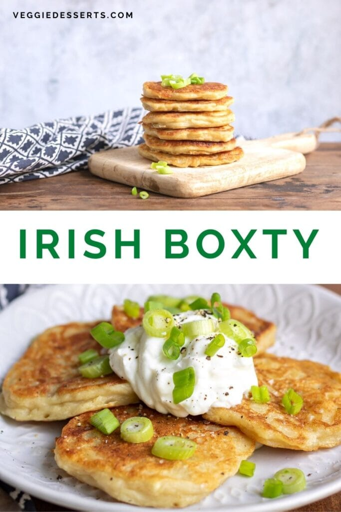 Pictures of potato pancakes with text: Irish Boxty.