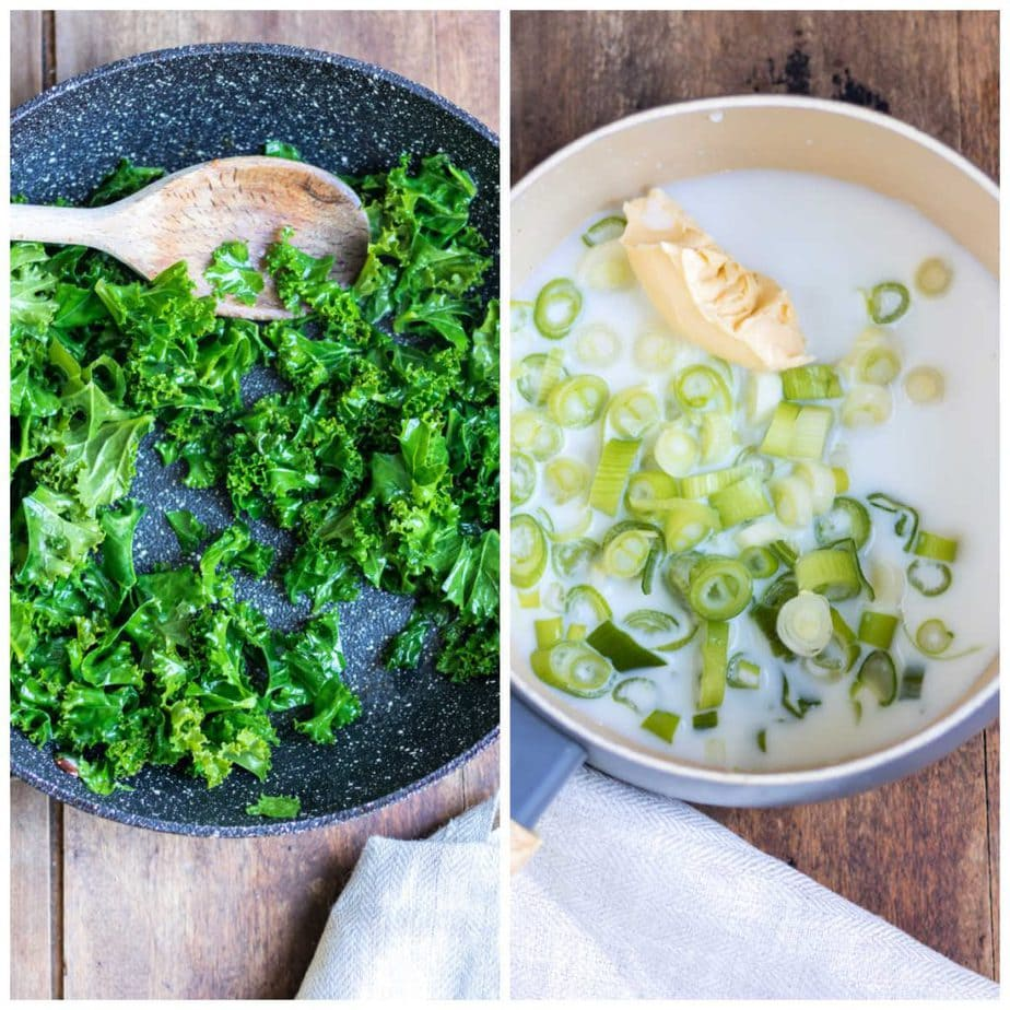 Collage: kale in a frying pan and pot of milk, butter and scallions.
