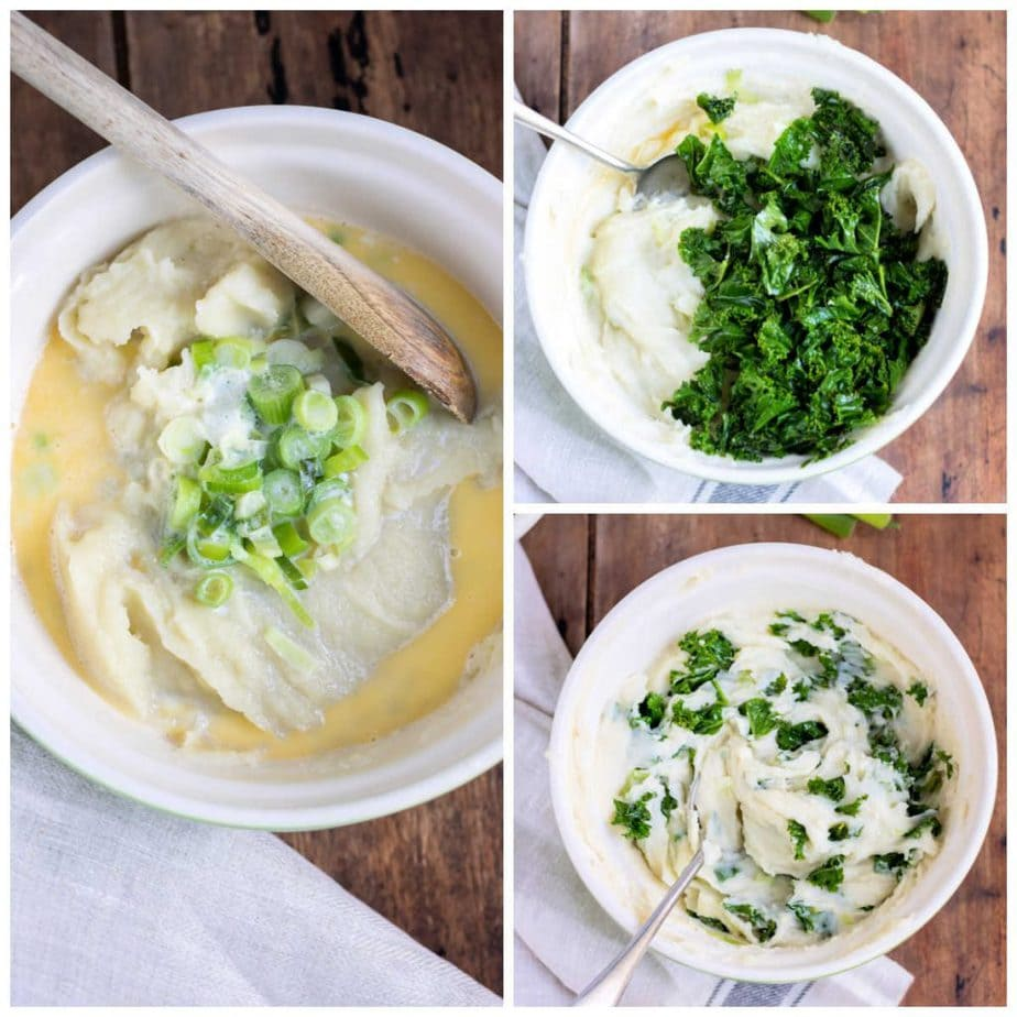 Collage: 1 bowl of mash with milk, butter and scallions, 2 kale added, 3 stirred.