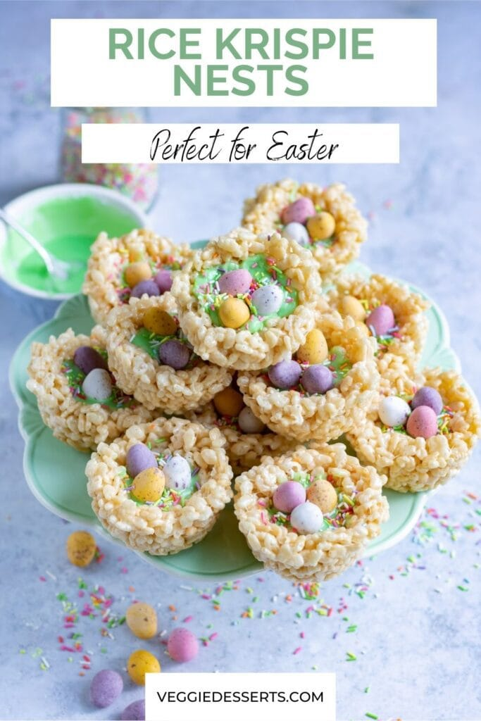 Stack of rice krispie nests with text: Rice Krispie Nests, perfect for Easter.