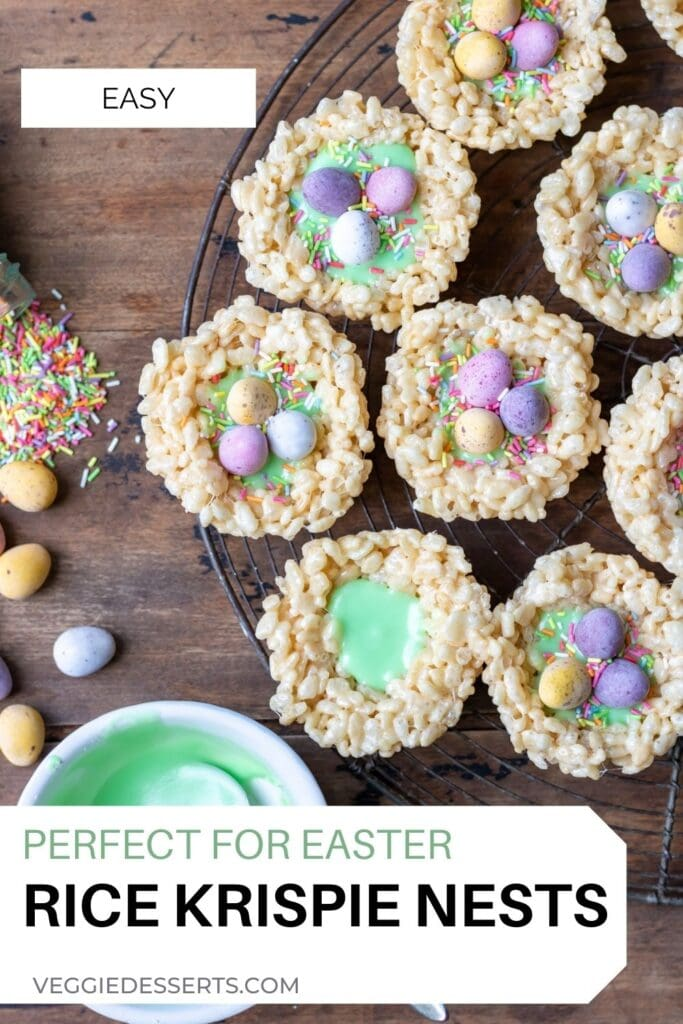 Wire rack of treats with text: Perfect for Easter, Rice Krispie Nests.