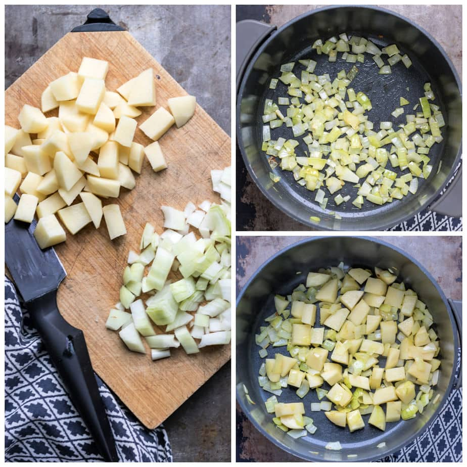 Collage: Chopped potatoes and onion, 2 onions in a pot, 3 potatoes added.