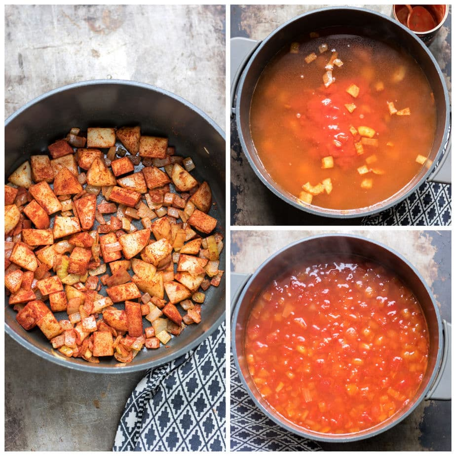 Collage: 1 paprika added, 2 water, stock and tomatoes added, 3 cooked.