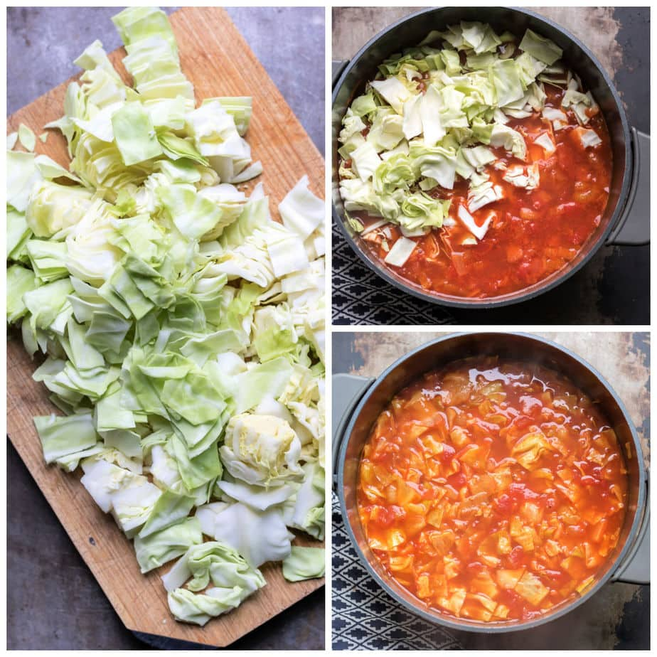 Collage: 1 chopped cabbage, 2 added to soup, 3 finished soup.