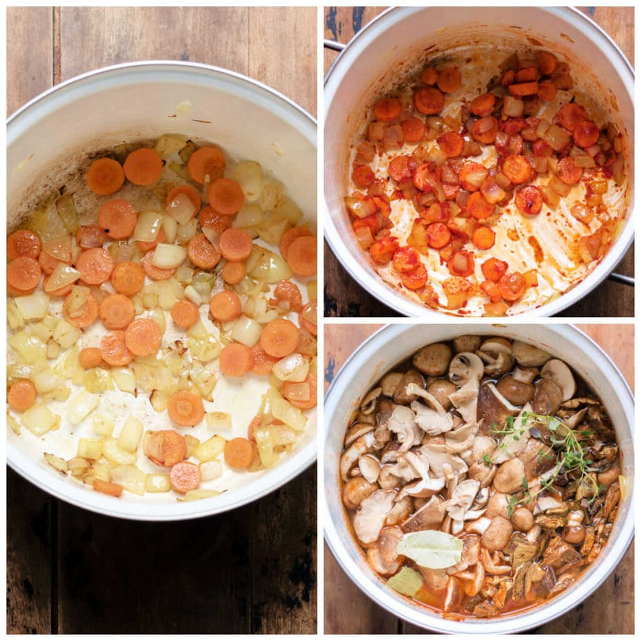 Collage: 1 onion and carrots in a pot, 2 tomato puree added, 3 remaining ingredients added.
