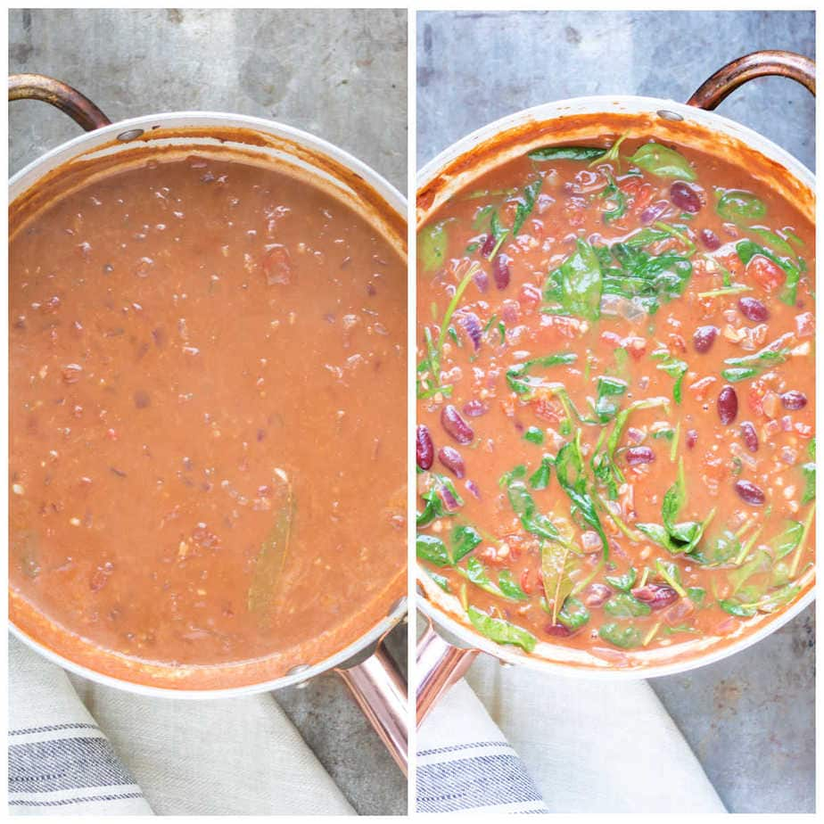 Collage: 1 curry sauce cooked, 2 kidney beans and spinach added.