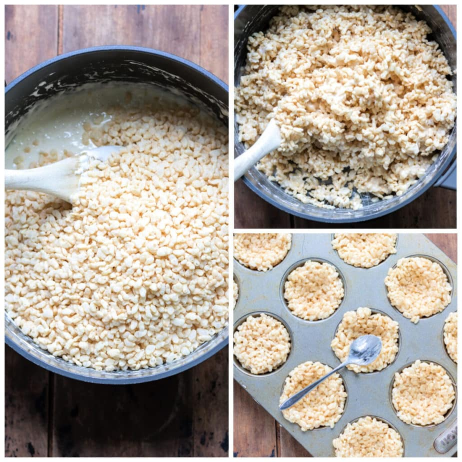 Collage: 1 rice krispies added, 2 stirred together, 3 spooned into muffin tin to make nest shapes.