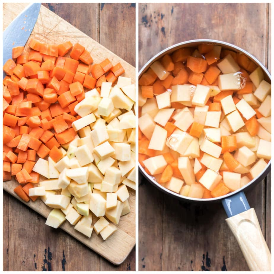 Collage: 1 chopped carrot and swede, 2 in a pot of water.