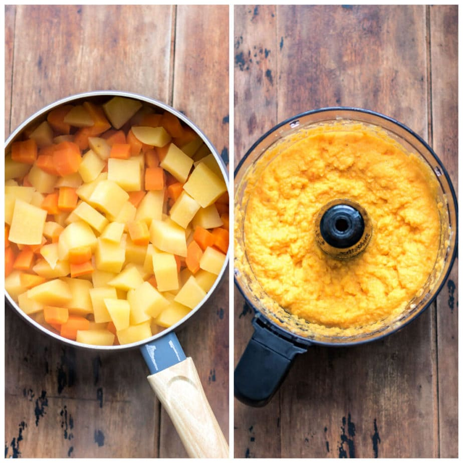 Collage: 1 pot of cooked swede and carrots, 2 pureed in a food processor.