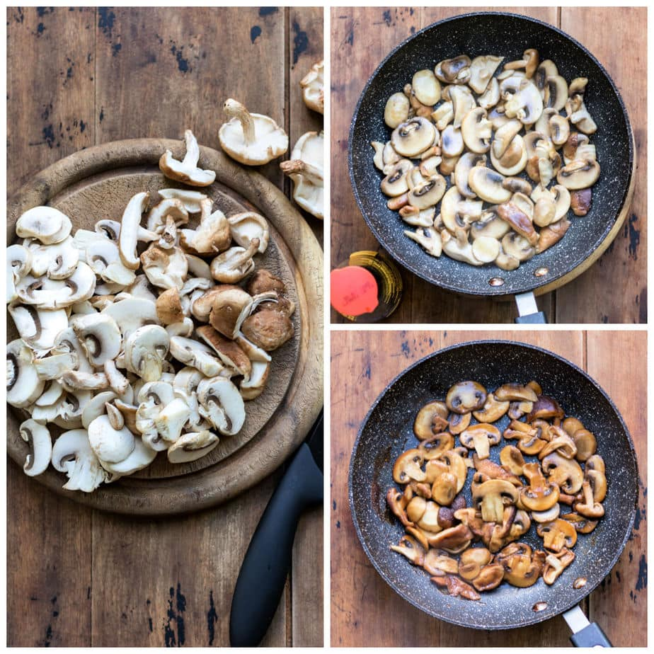 Collage: 1 chopped mushrooms, 2 in skillet, 3 sauteed with soy sauce.