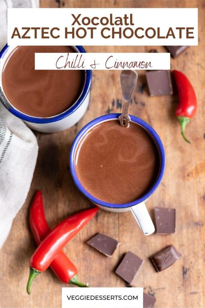 Mug of hot chocolate with text: Xocolatl Aztec Hot Chocolate.