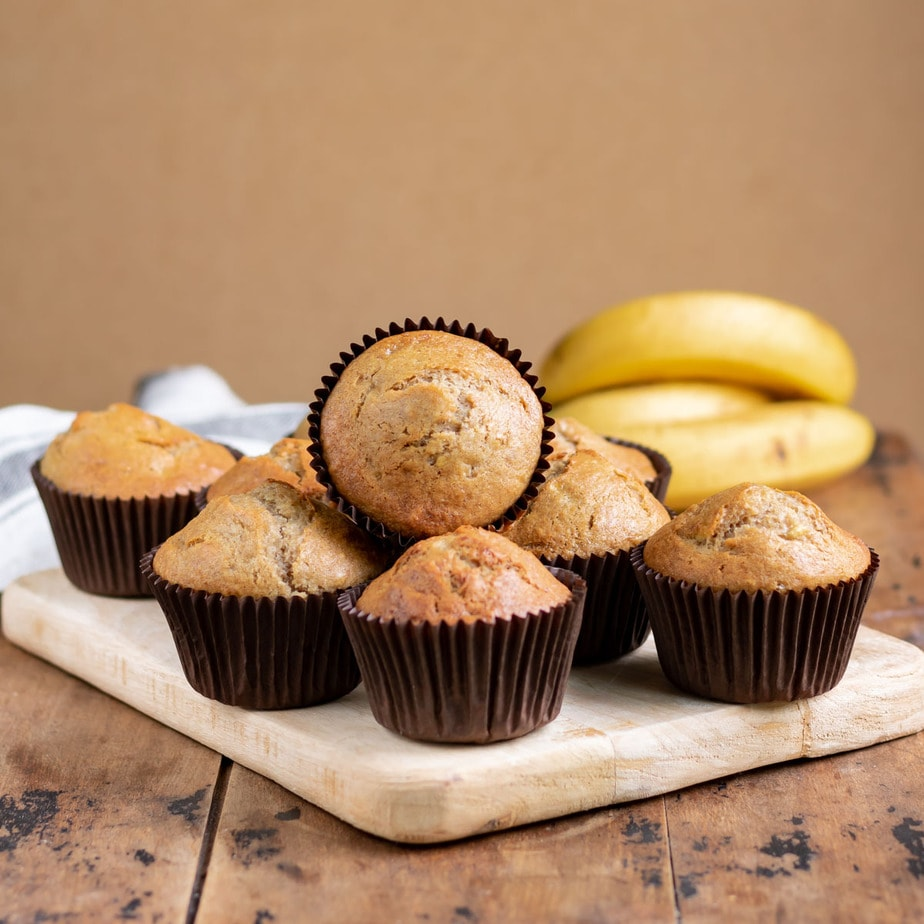 Muffins on a board.