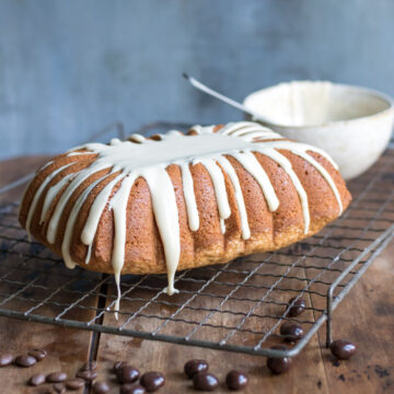 Loaf of cake, with drizzle.