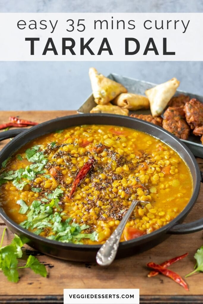 Table with dish of curry, with text: easy 35 minutes curry, tarka dal.