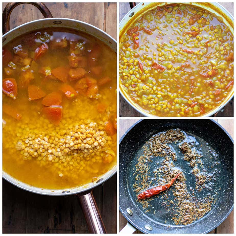 Collage: 1 stock added, 2 cooked dal tadka, 3 making the tarka.