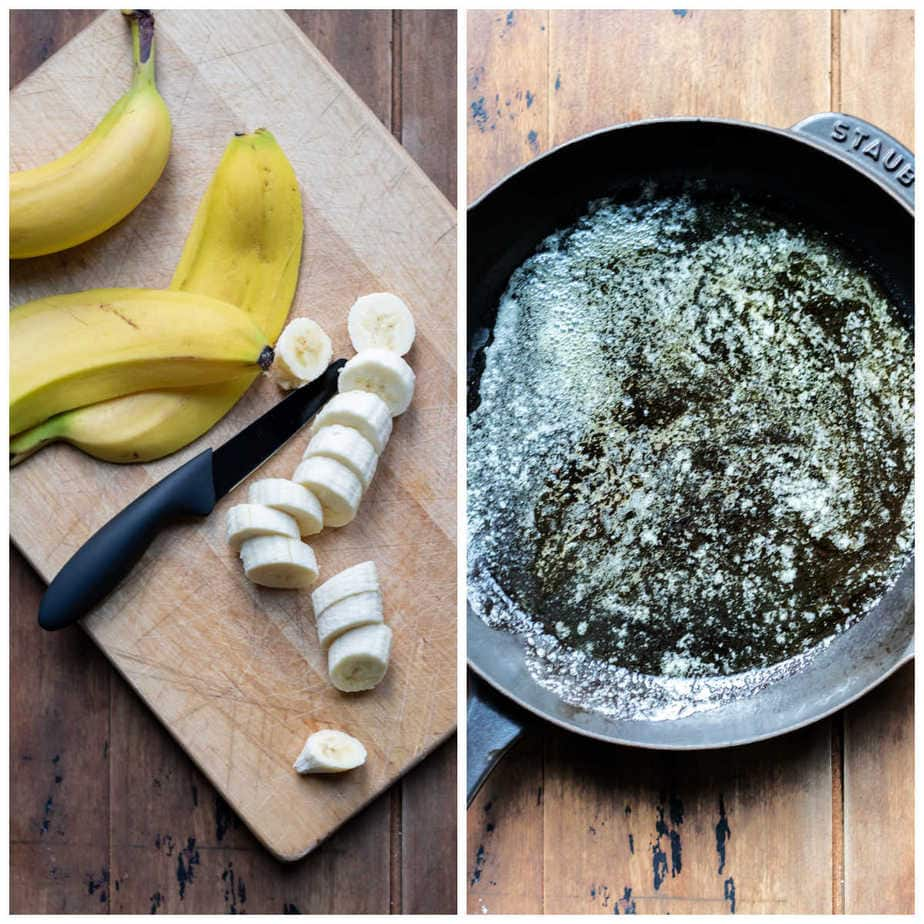Collage: 1, slicing bananas, 2 heating butter and maple syrup in a skillet.