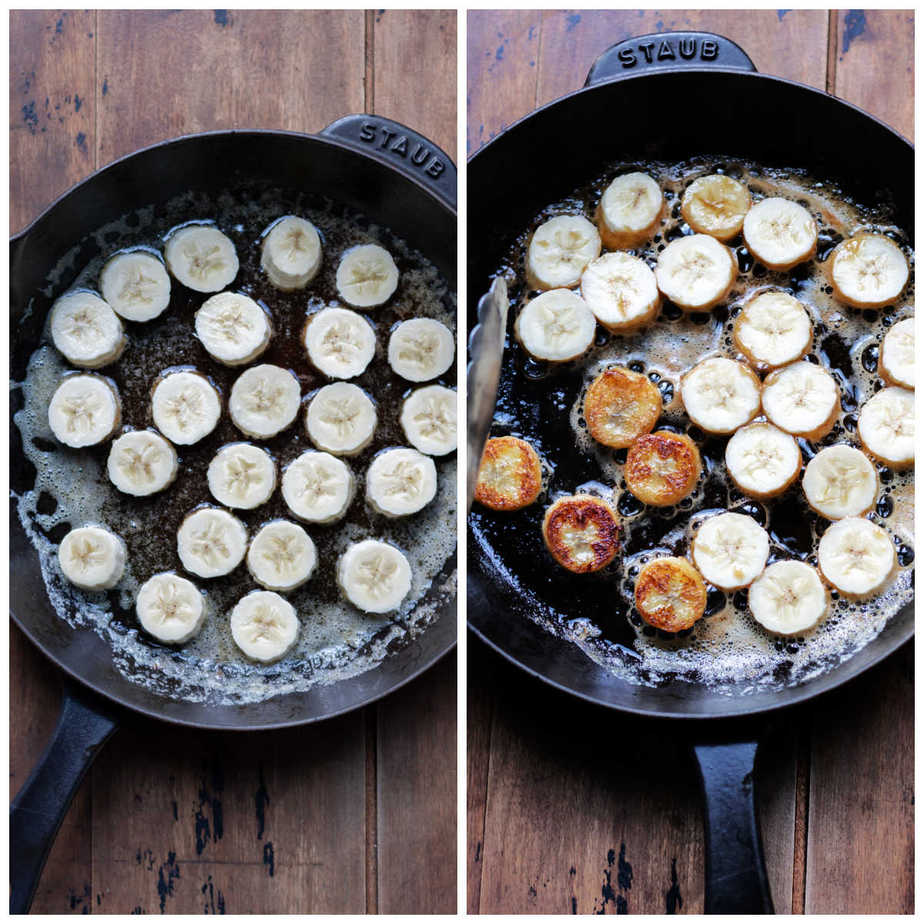 Collage: 1 banana slices in a skillet, 2 some turned.