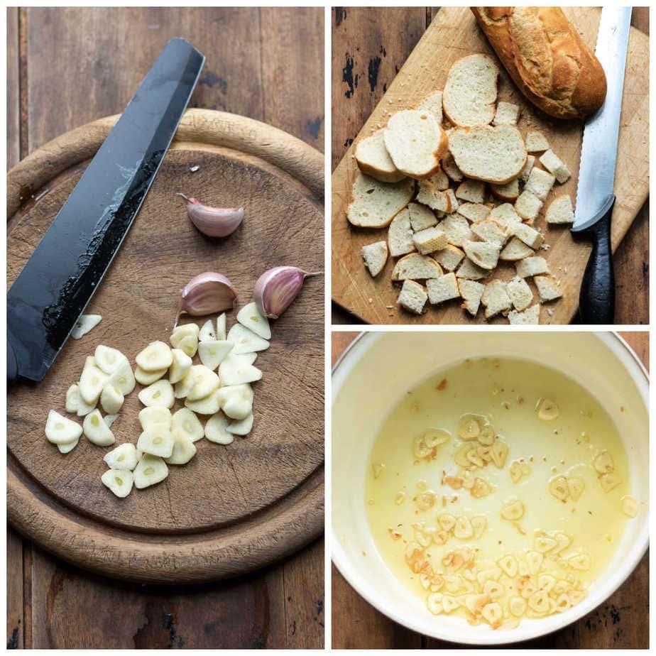 Collage: 1 cutting garlic, 2 cutting bread, 3 cooking garlic.