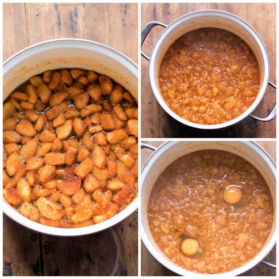 Collage: 1: pot with ingredients, 2: cooking sopa de ajo, 3: eggs cracked into the soup.