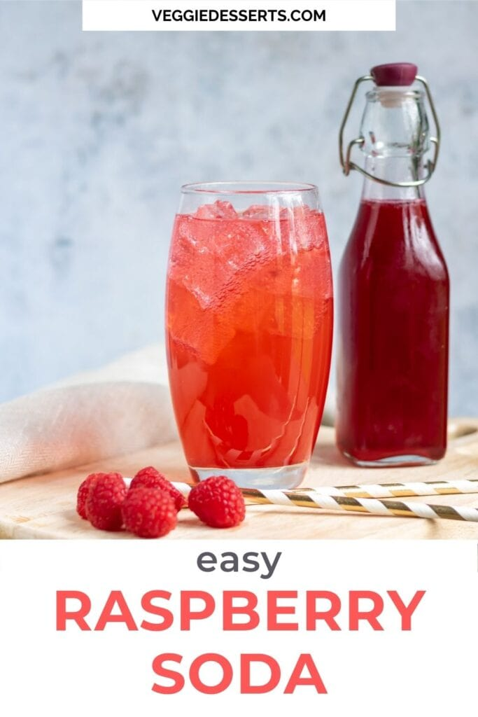 Glass of soda and bottle of syrup with text: Easy Raspberry Soda.