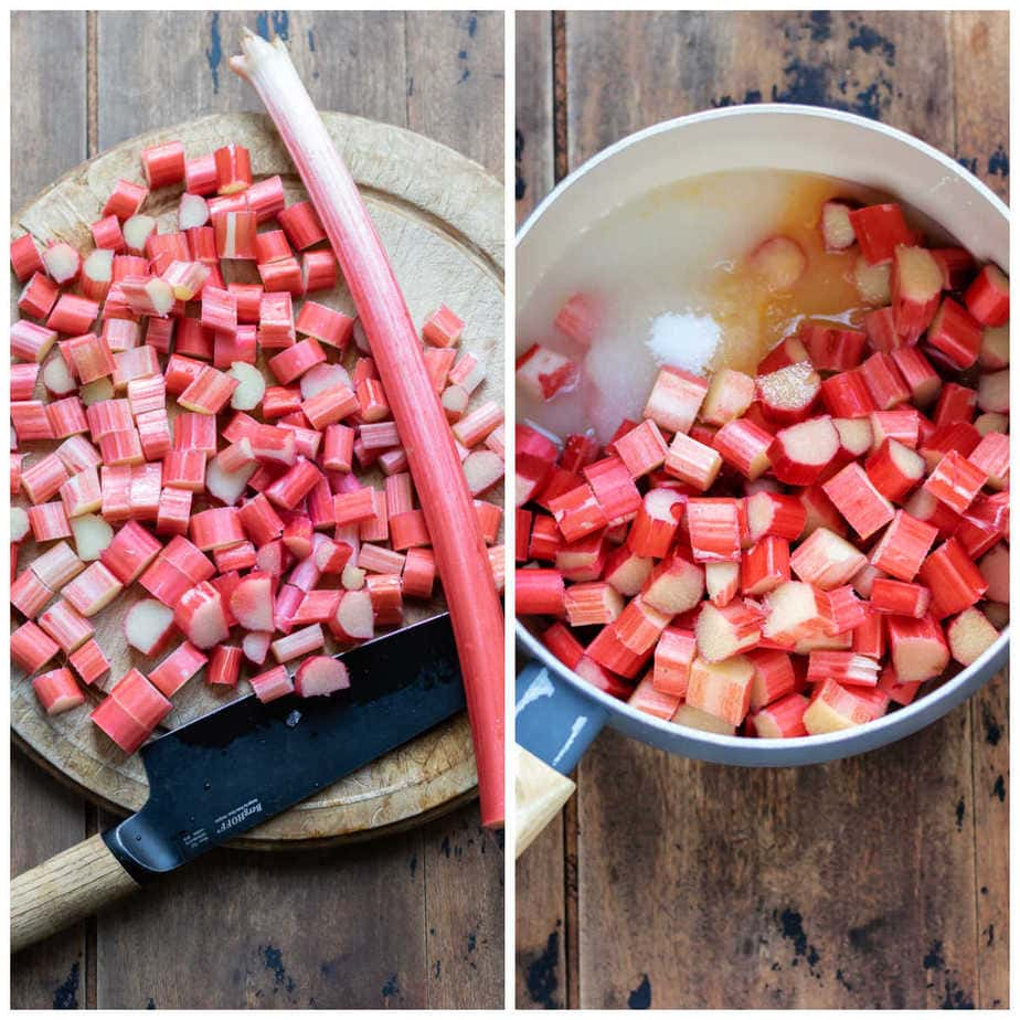 Collage: 1 chopping rhubarb, 2 added to a pot with water, sugar and vanilla.