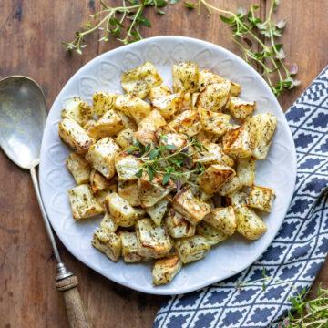 Serving plate of roasted celeraiac.