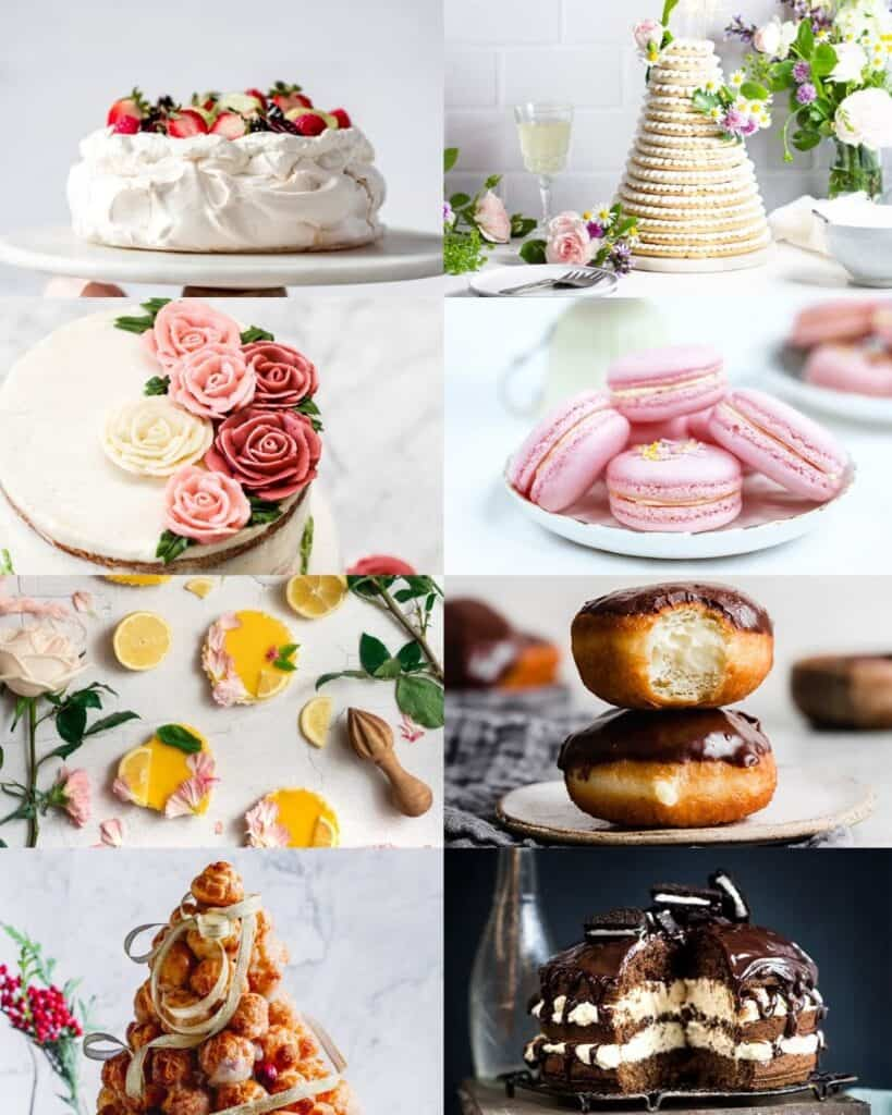Collage of pictures of desserts.