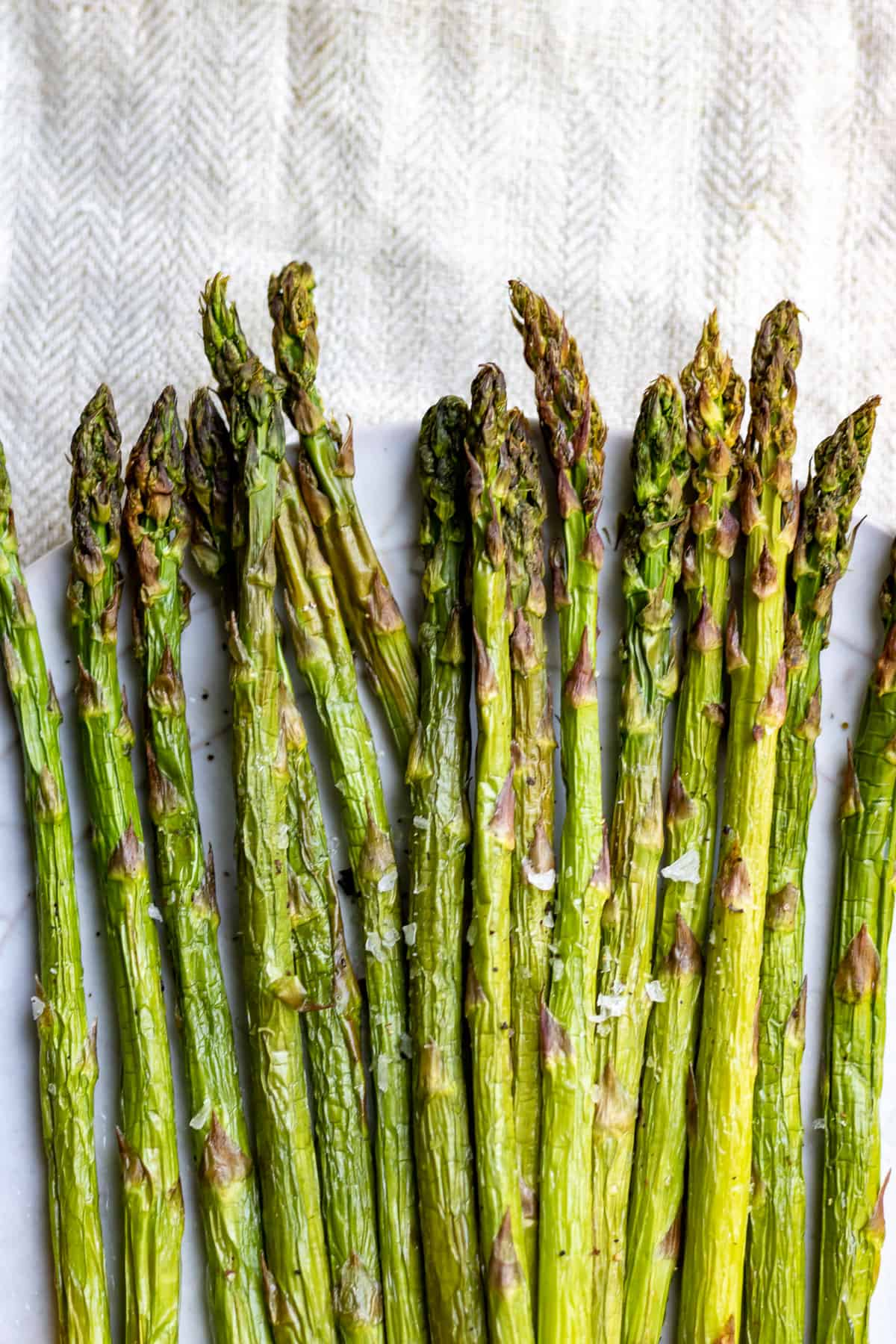 Rows of roasted asparagus.