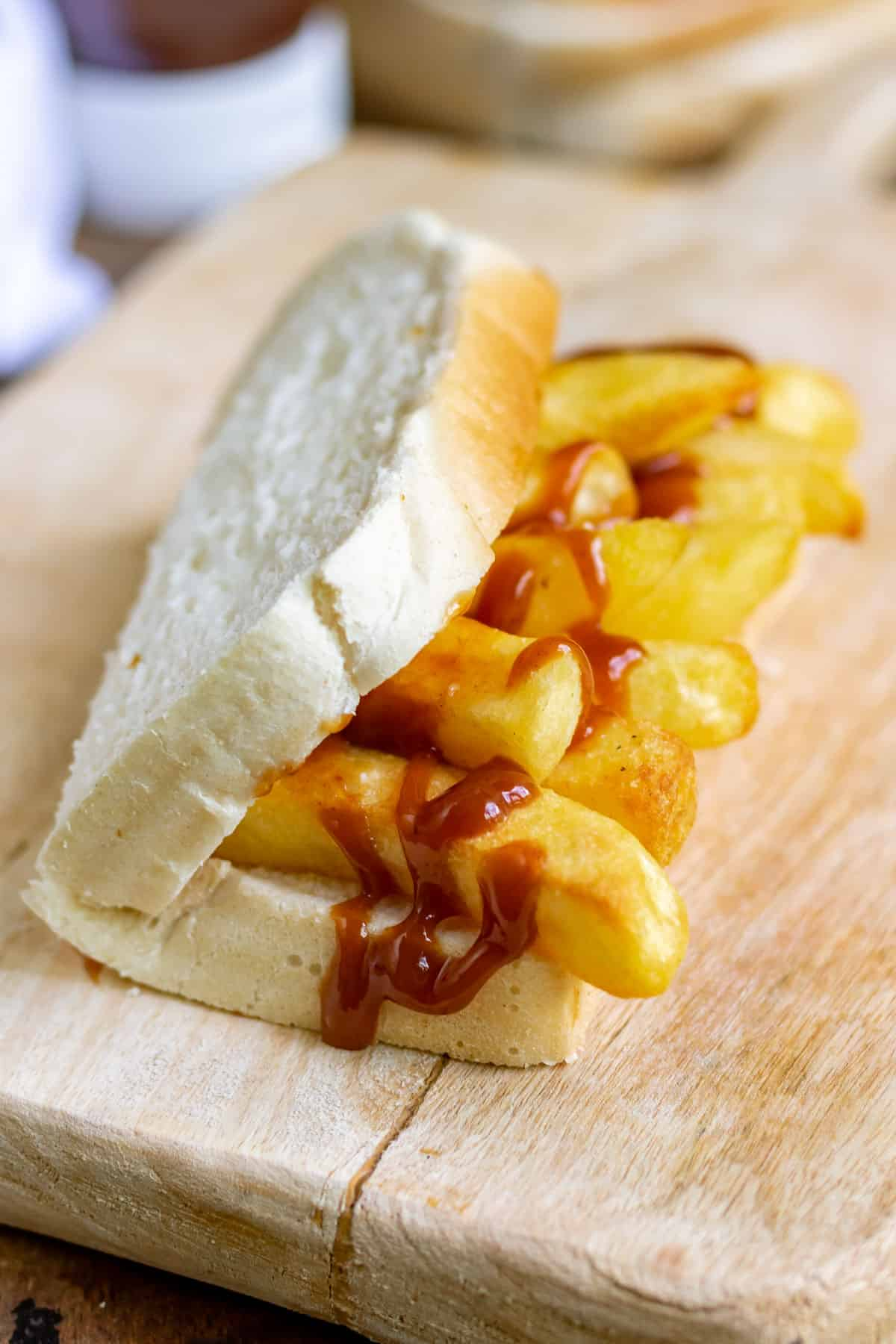 A folded chip sandwich with HP Sauce.