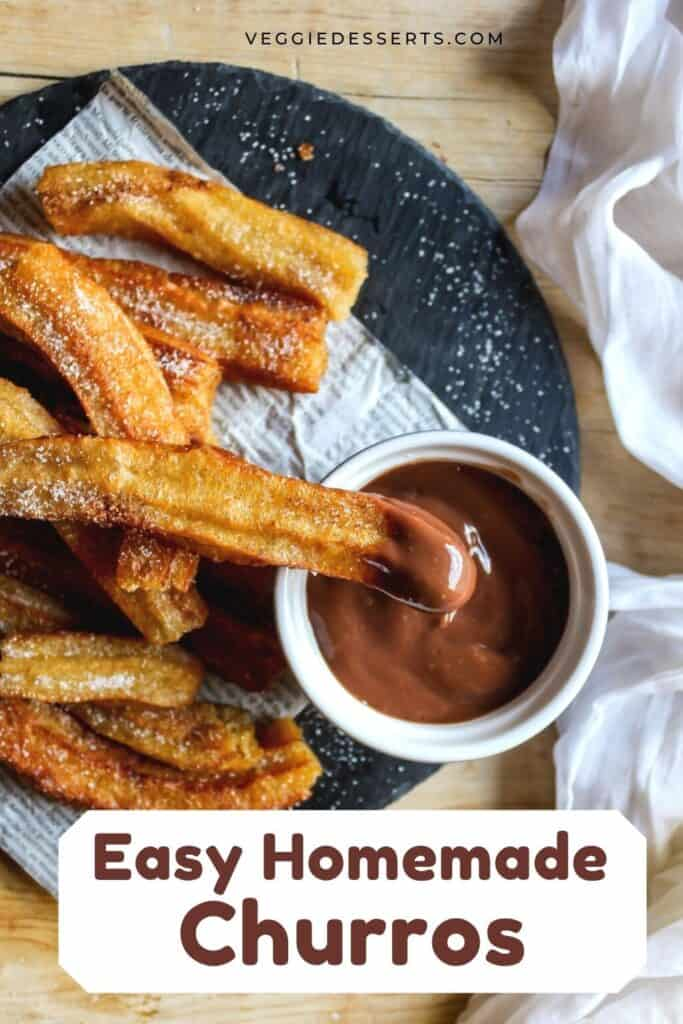 Plate of churros with text: Easy Homemade Churros