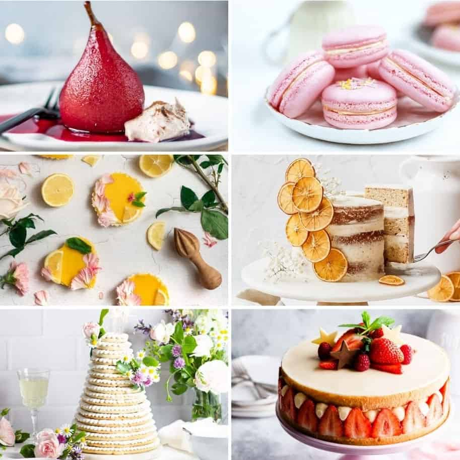 Collage of dessert pictures.