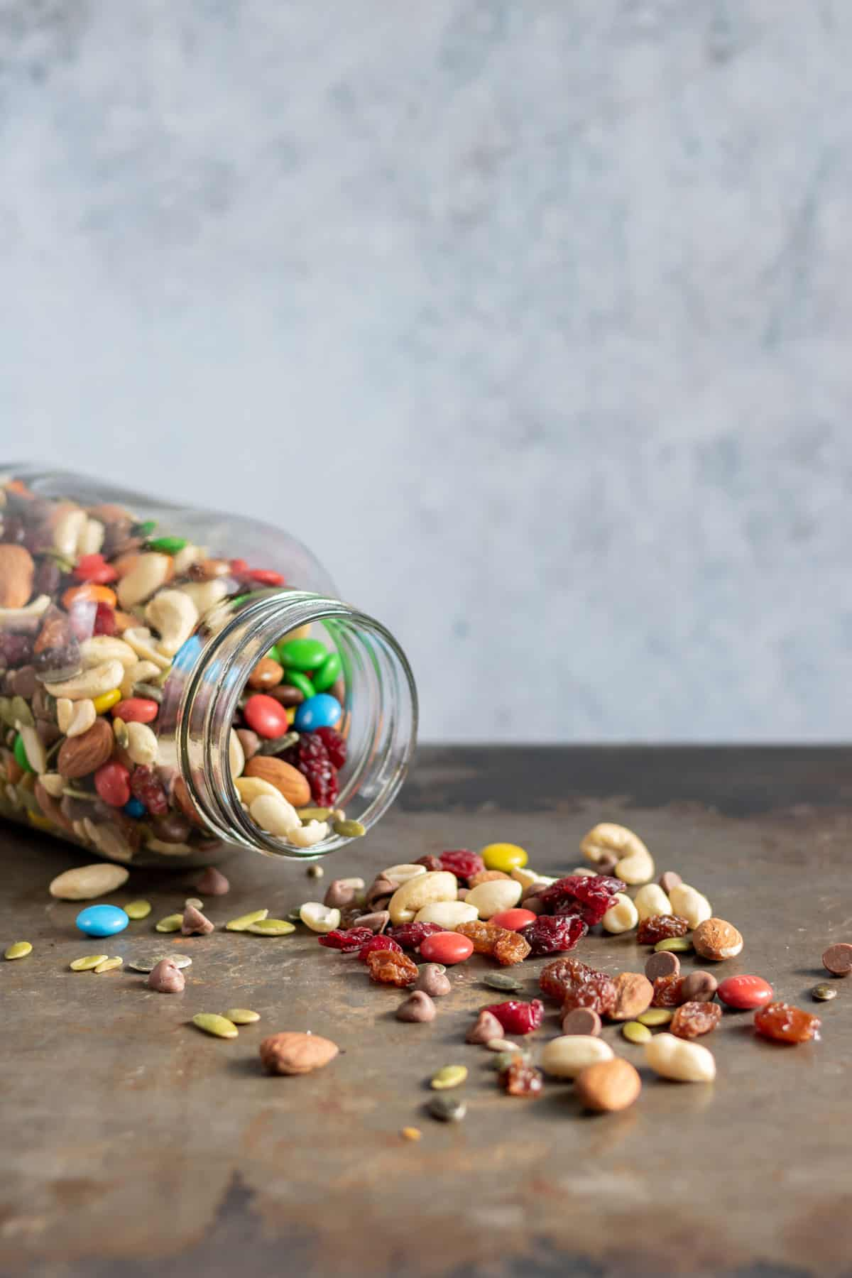 Tipped over jar of trail mix.