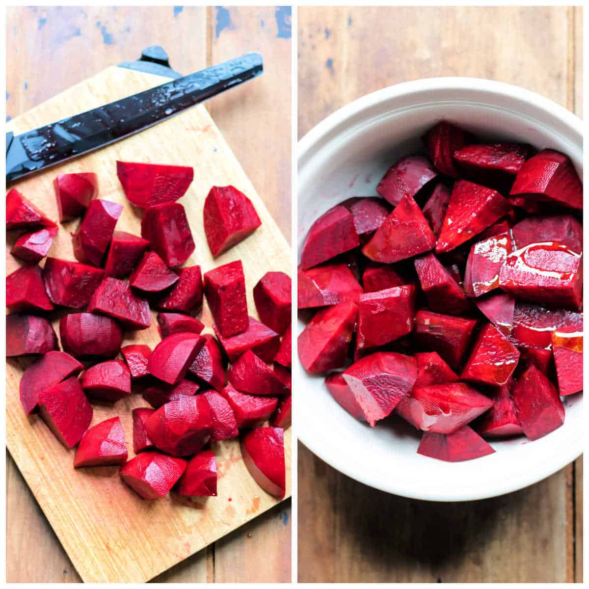 Collage: 1 cutting beets, 2 in a bowl with oil.