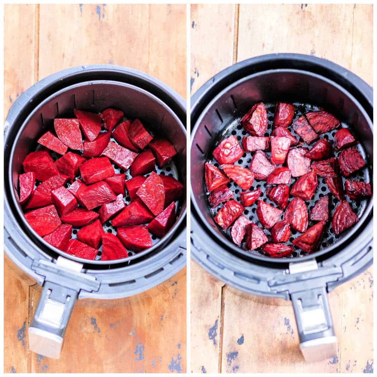 Collage: 1 raw beets in the air fryer, 2 cooked beets in the air fryer.