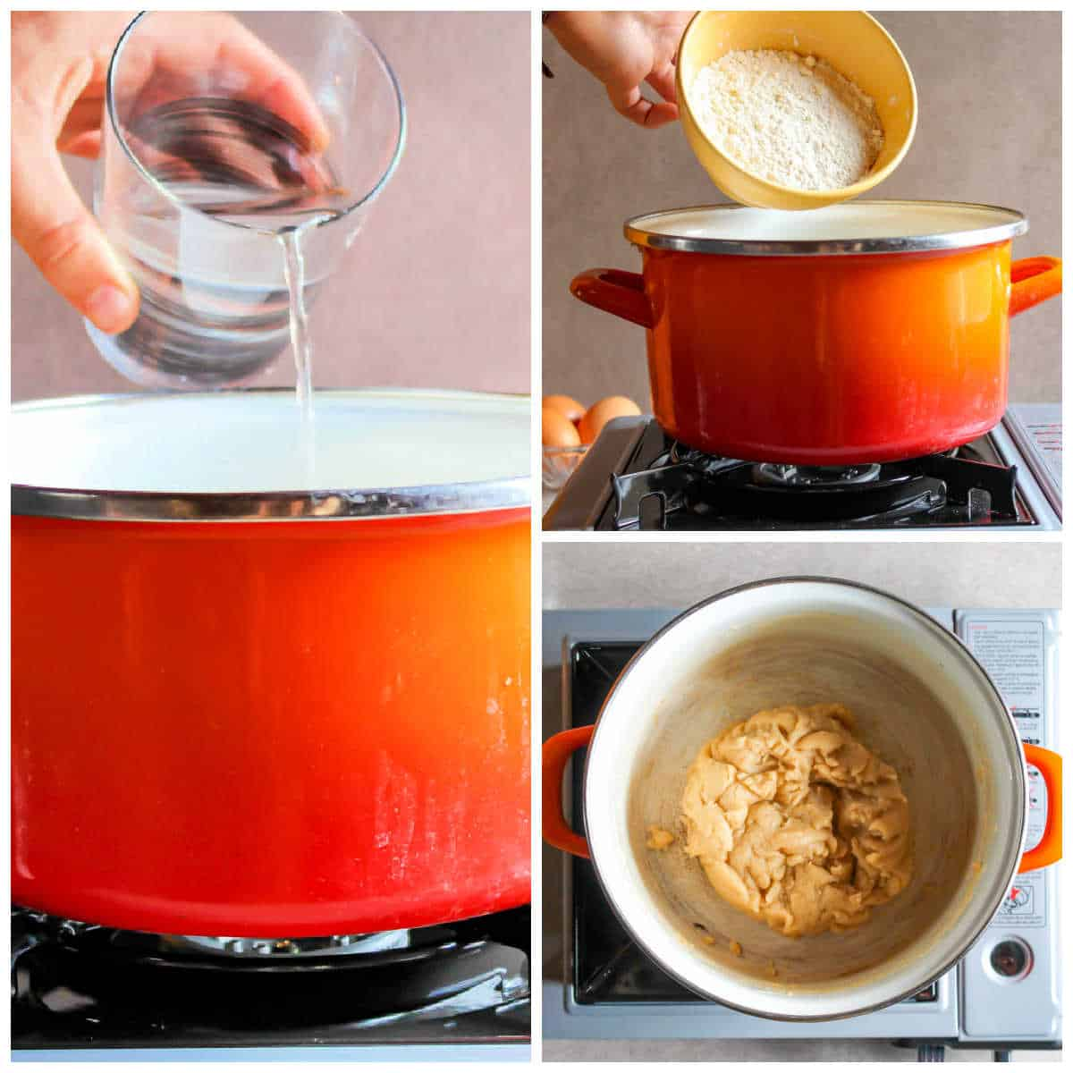 Collage of making churros: 1 pouring water into pot, 2 adding flour, 3 batter beaten.