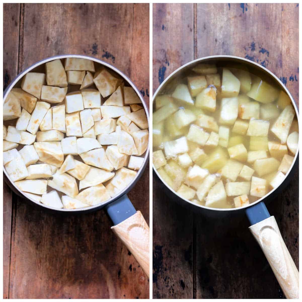Pot of celeriac and pot with potatoes included too.