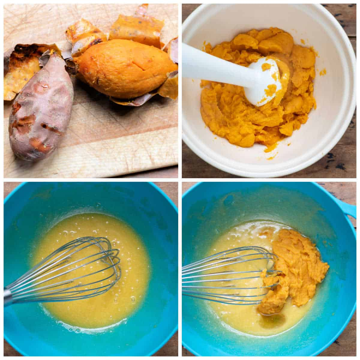 Collage of making cookies - baked sweet potato, pureed, butter and sugars beaten, puree added.