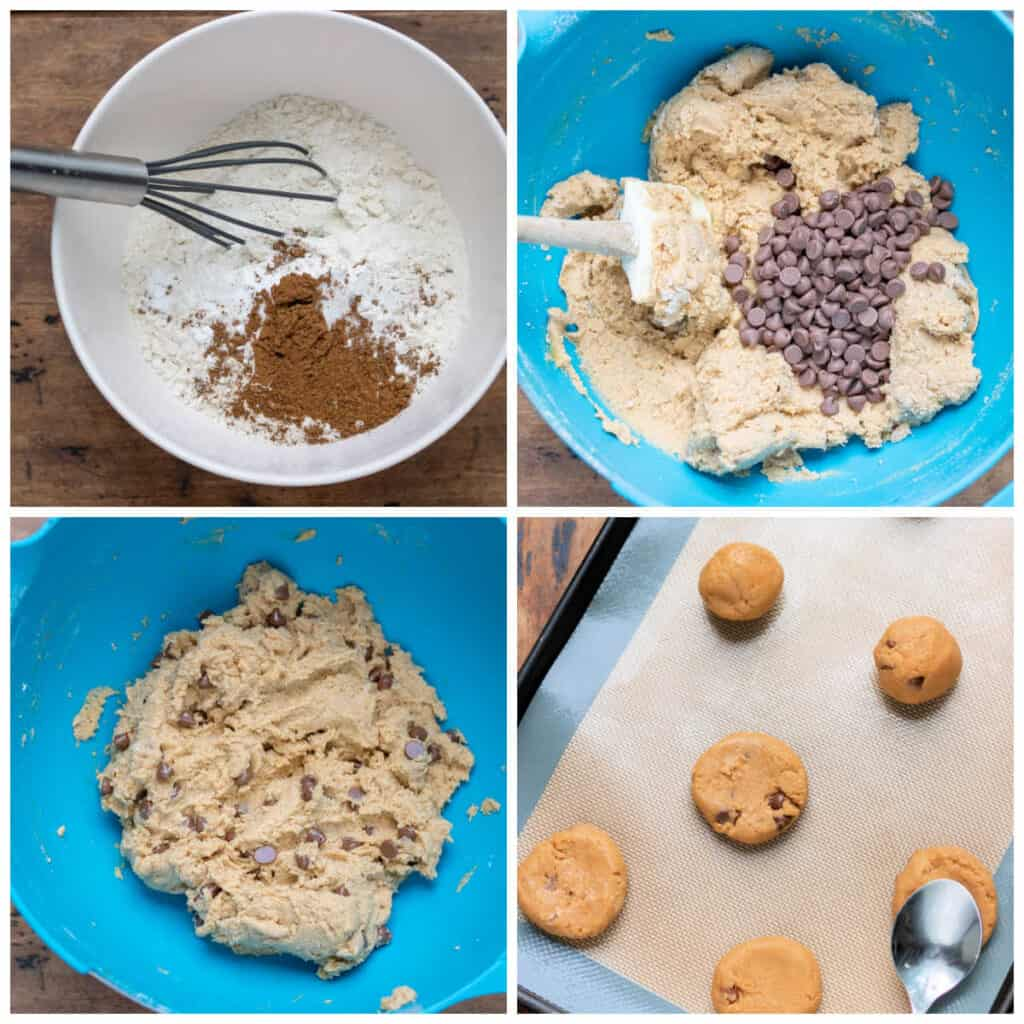 Collage: whisking dry ingredients, mixing in wet, folding in chocolate chips, cookies on baking sheet.