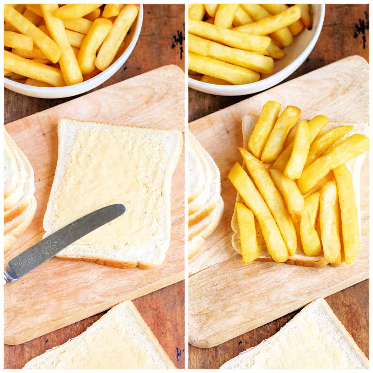 Collage making chip butties: spreading butter on bread, adding chips.
