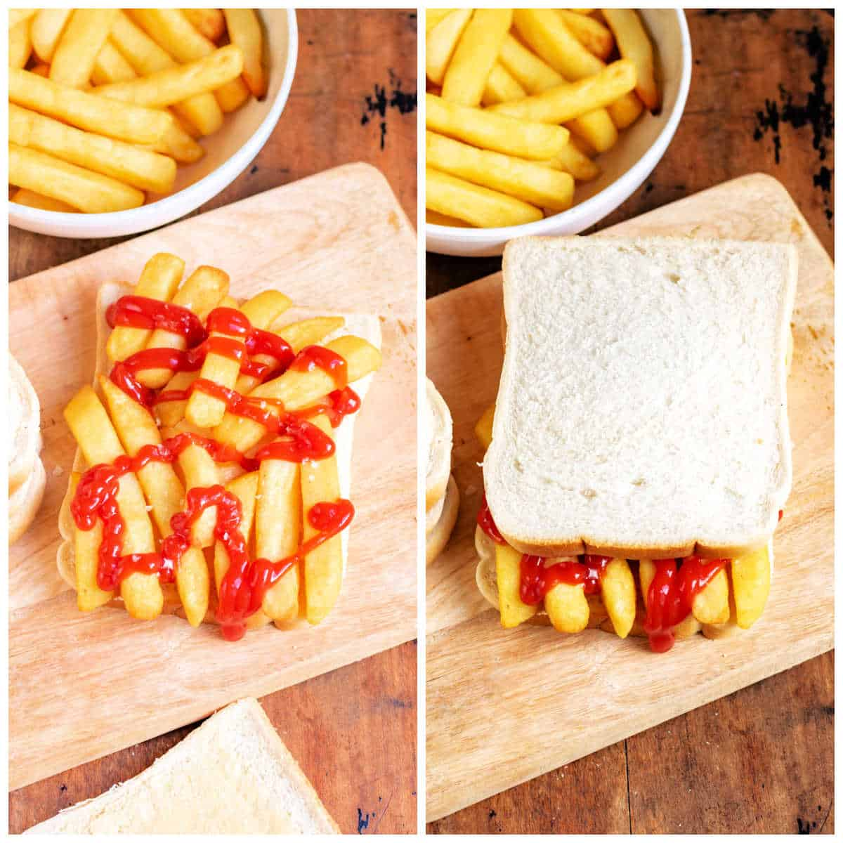 Collage: ketchup on the chips, top slice of bread added.