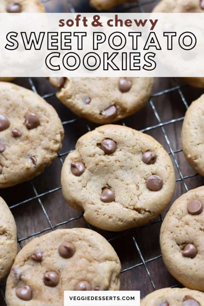 Cooling rack of cookies with text: soft and chewy sweet potato cookies.