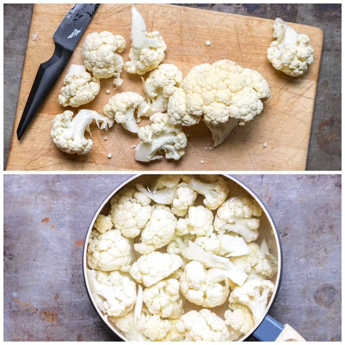 Collage: 1 chopped cauliflower, 2 in a pot.