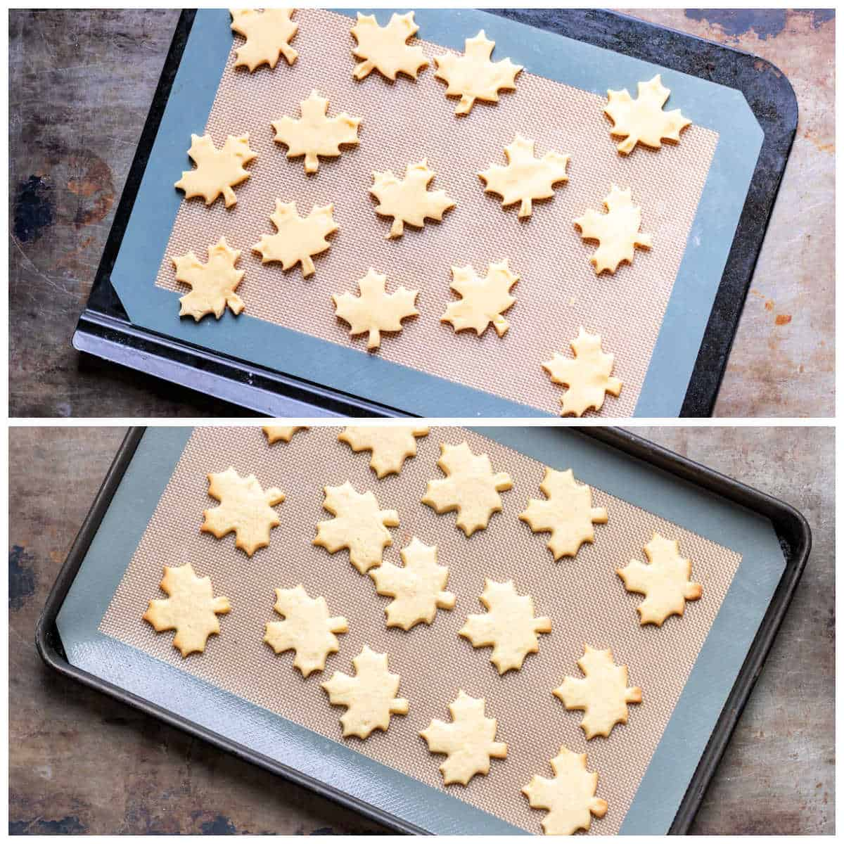 Baked and unbaked cookies on a cookie sheet.