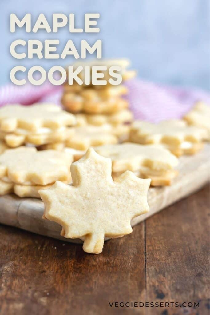 Maple leaf shaped cookie, with text: maple cream cookies.
